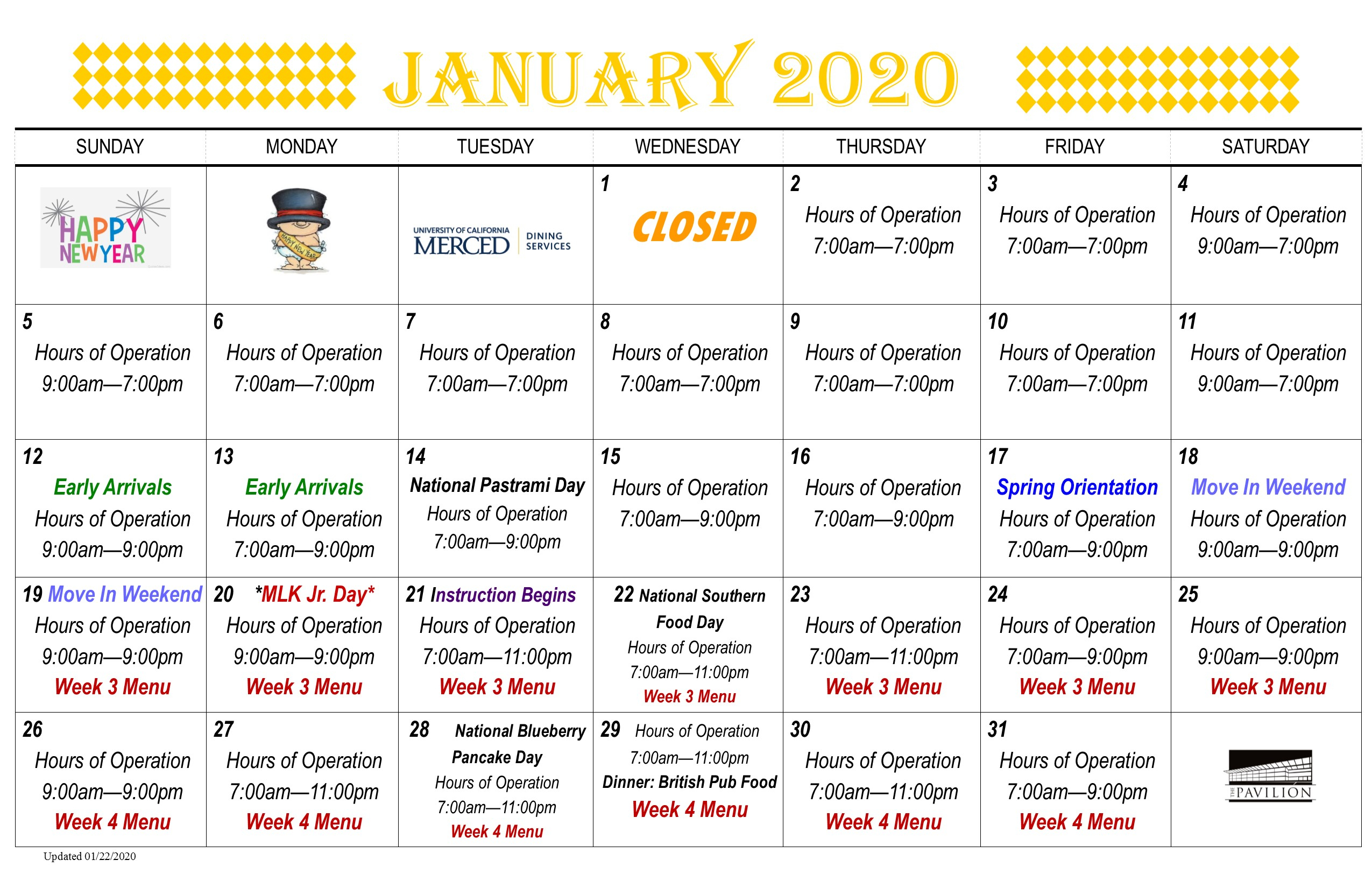 Pavilion Food Calendar | Dining Services