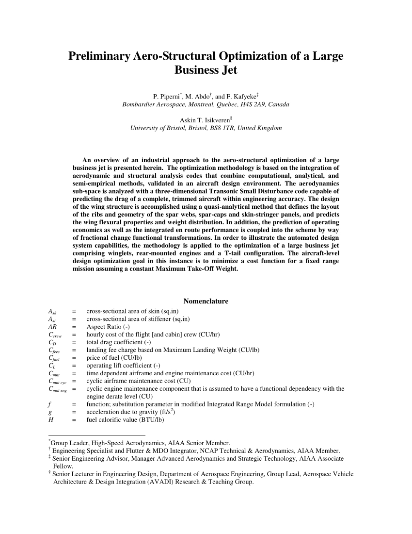 Pdf) Preliminary Aerostructural Optimization Of A Large