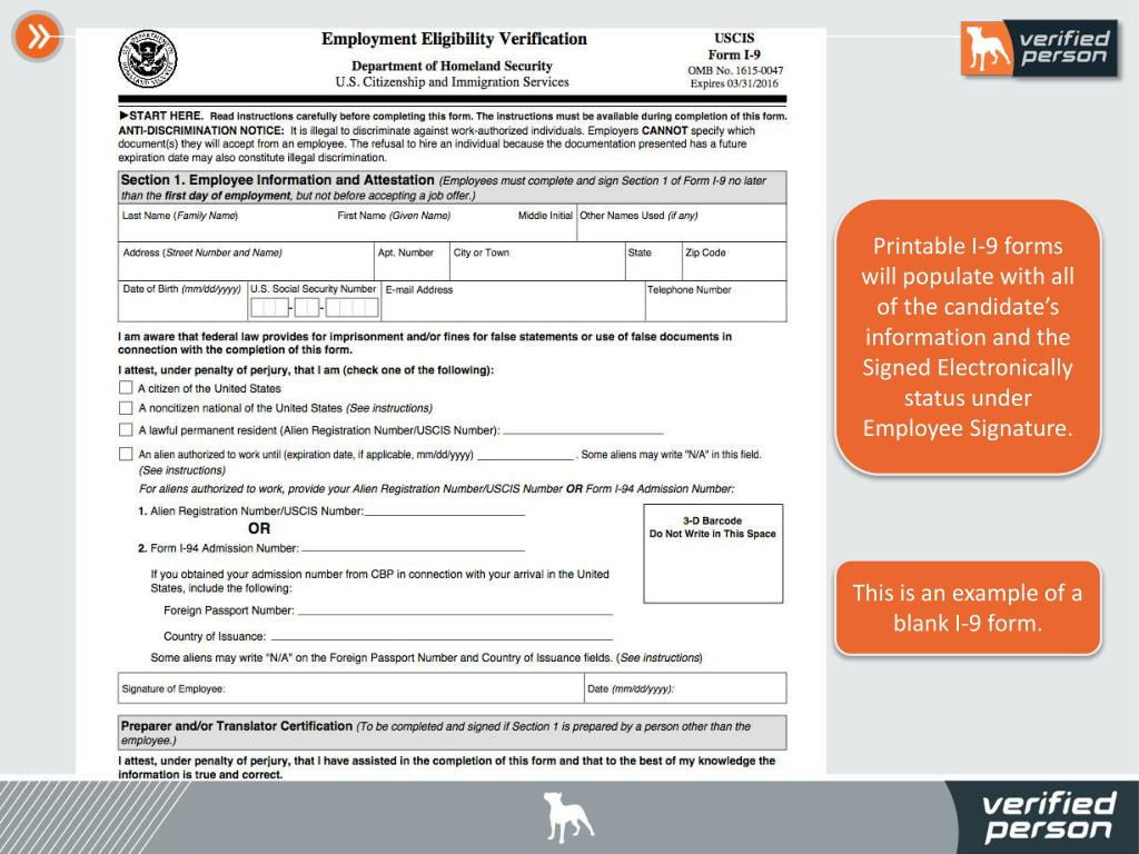 Ppt - Verified Person Inc. Employment Screening With Form I
