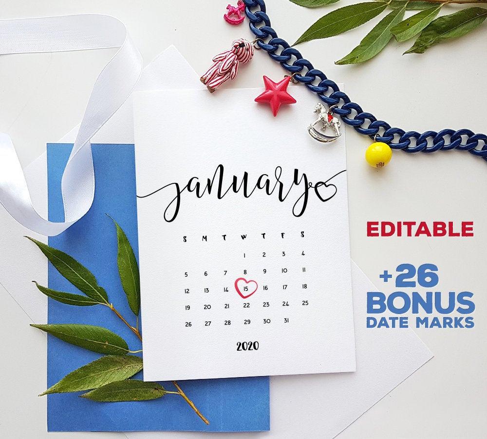 Pregnancy Calendar January 2020 Printable Pdf Baby Due Date Announcement  Pregnancy Calendar Baby Reveal Template Digital Editable Calendar