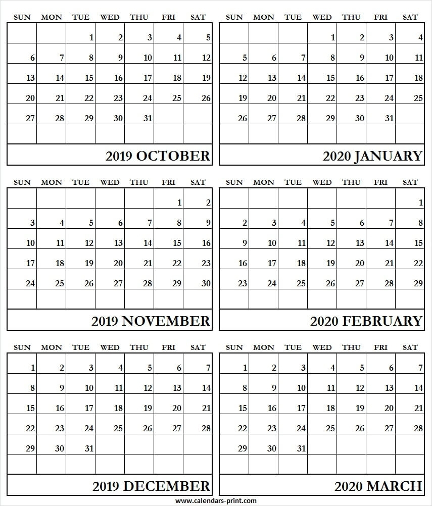 Print 6 Month Calendar 2020 | Example Calendar Printable-6
