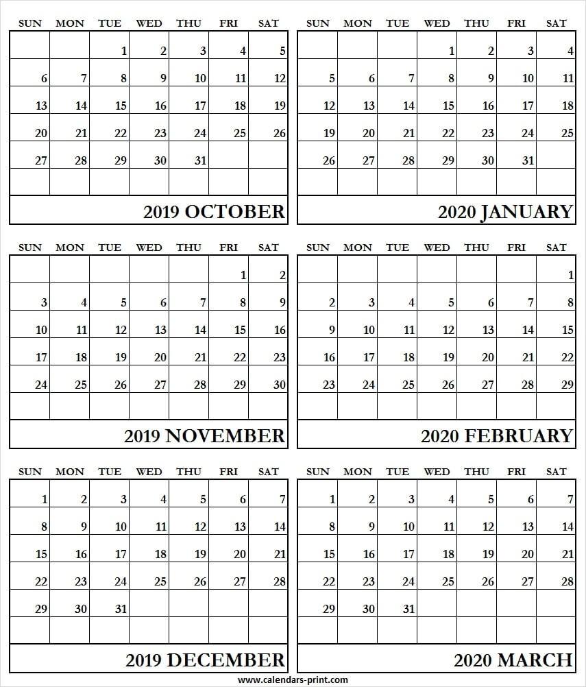 Print 6 Month Calendar 2020   Example Calendar Printable-6