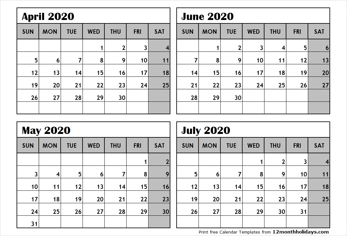 Print April To July 2020 Calendar Template   4 Month Calendar