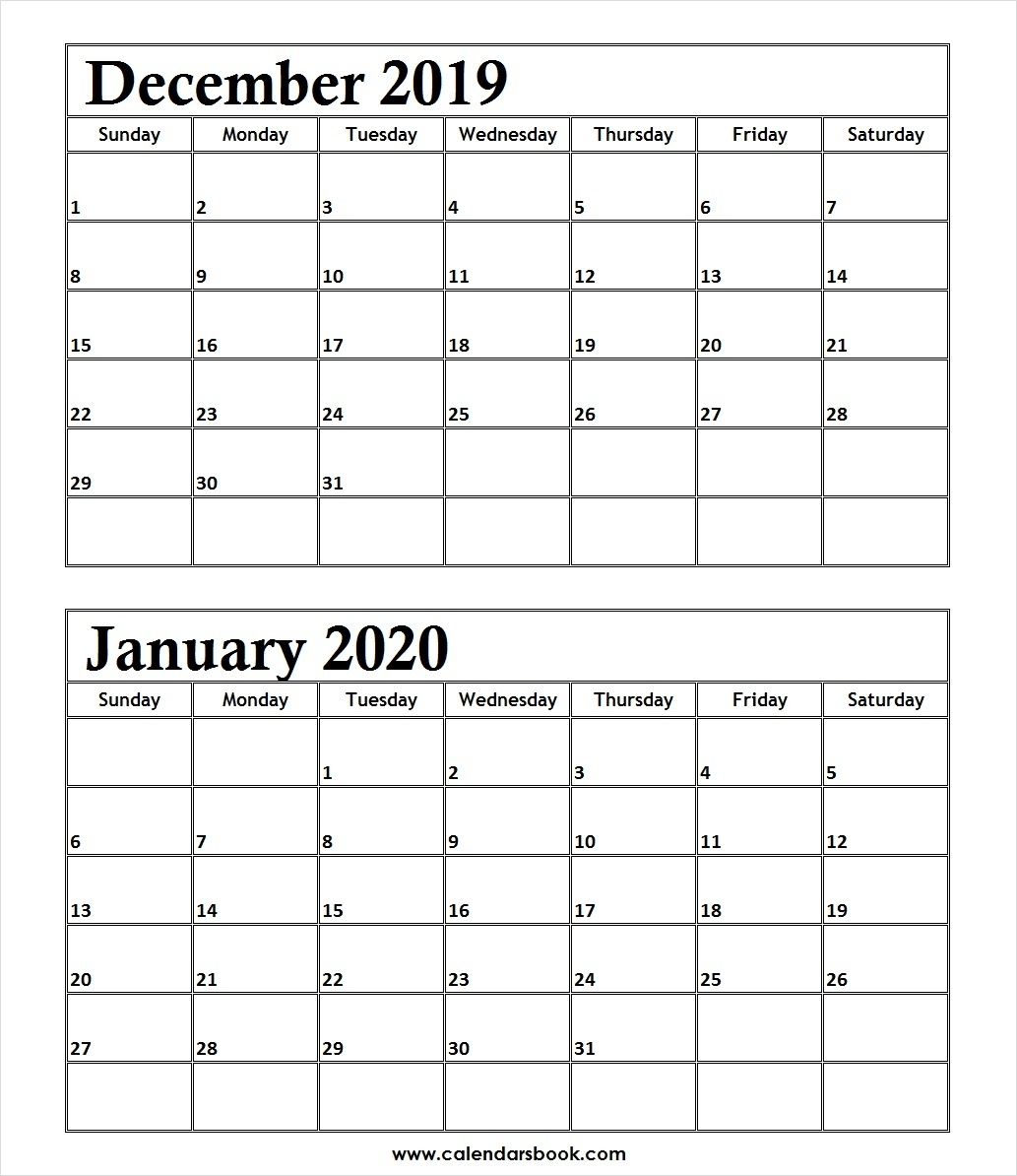Print December 2019 January 2020 Calendar Template | 2 Month