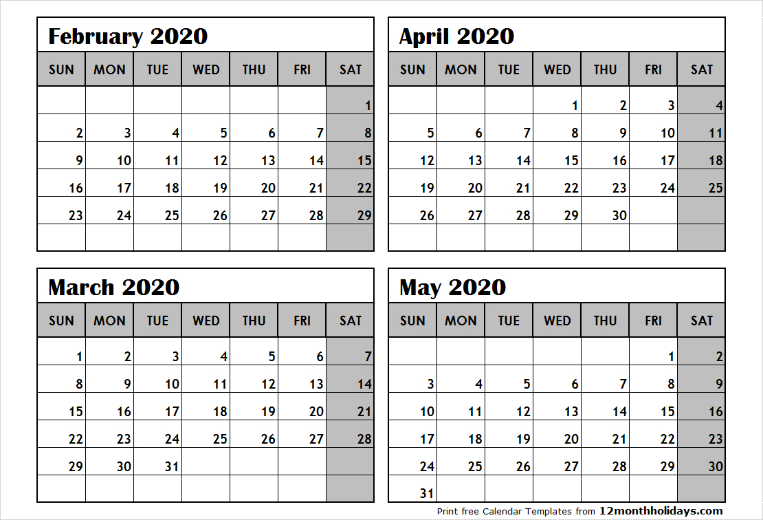 Print February To May 2020 Calendar Template   4 Month Calendar