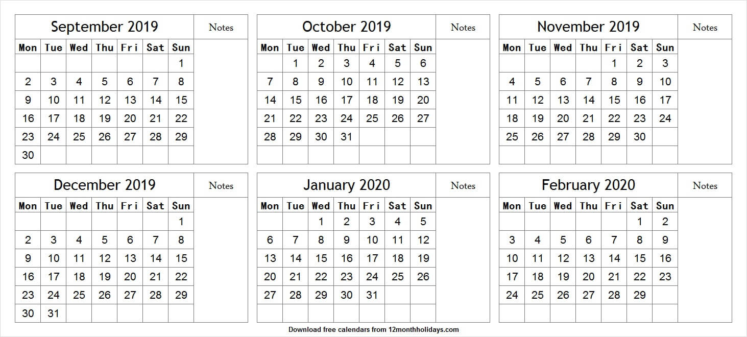 Print Free 6 Month Calendar September To February 2020 With