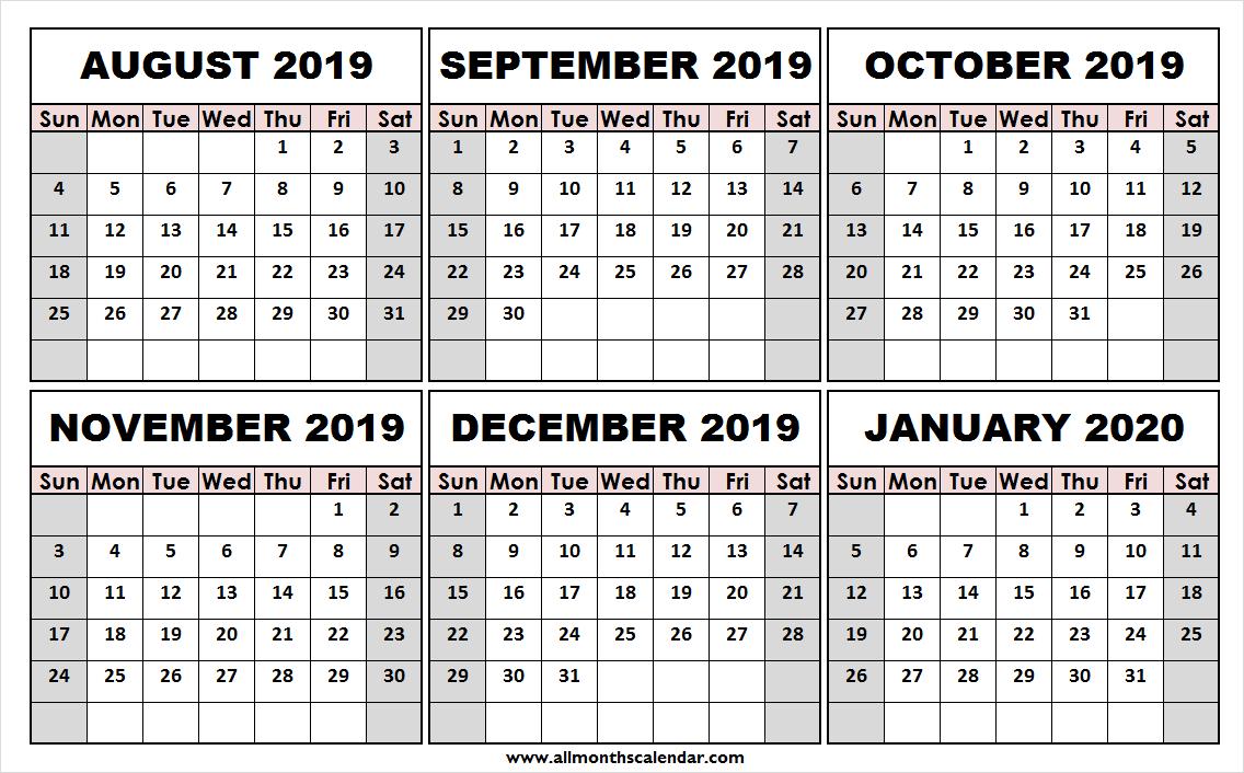 Print Free August 2019 January 2020 Calendar | Template To Print