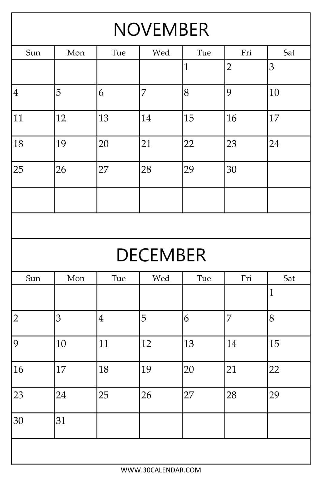 Print Free Calendar 2018 November December | Two Months Template