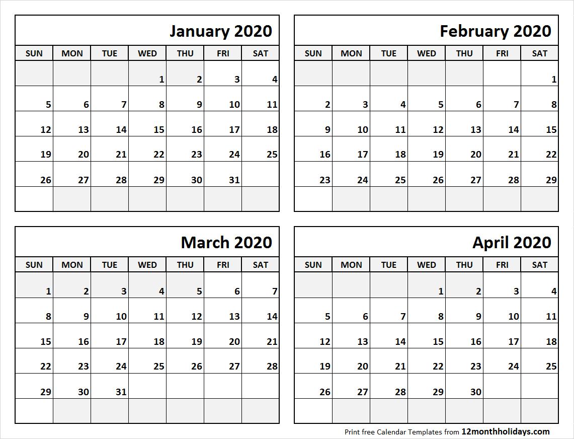Print January To April 2020 Calendar Template | 4 Month Calendar