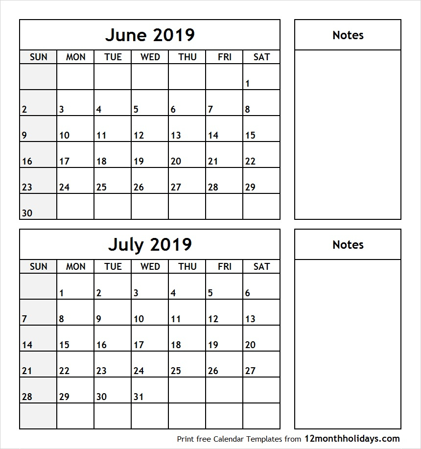 Print June July 2019 Calendar Template | 2 Month Calendar