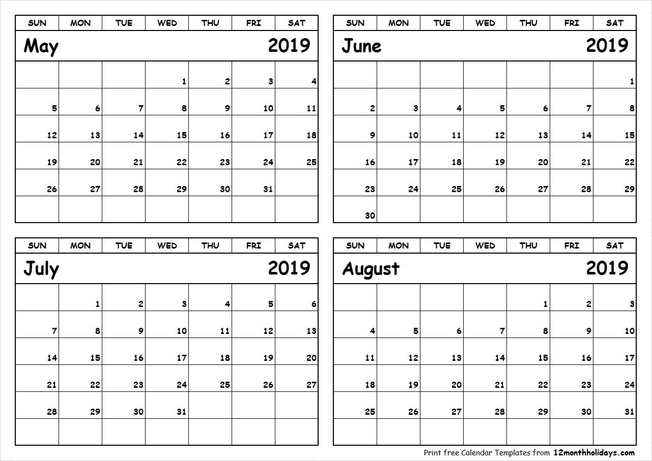 Print May To August 2019 Calendar Template | 4 Month