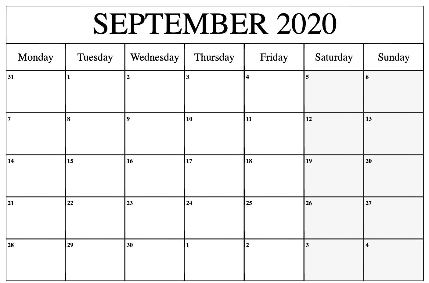 Print September 2020 Calendar To Print | September Calendars