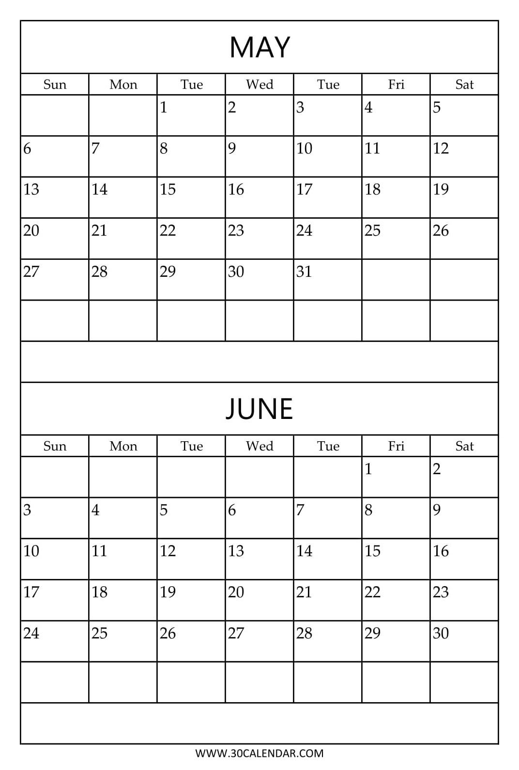 Printable 2018 Calendar May And June With Holidays | 2 Month