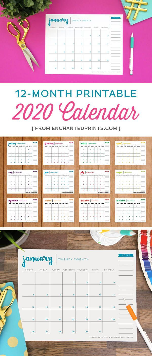 Printable 2020 Calendar - 12 Month Calendar - 2020 Planner