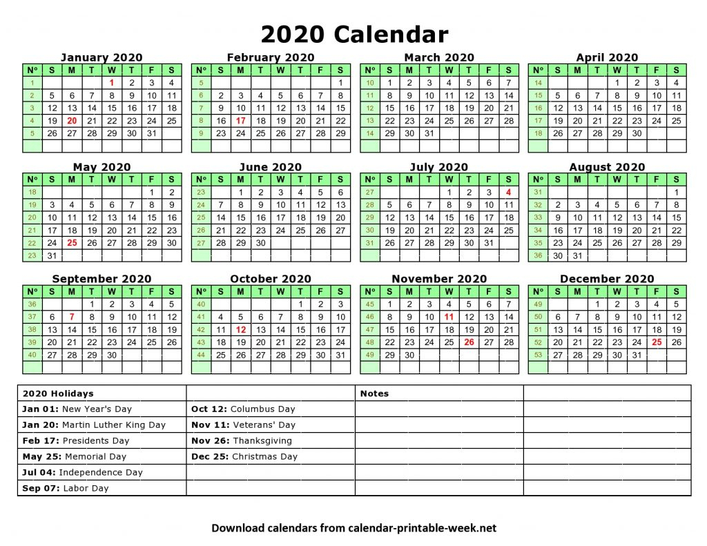 Printable 2020 Calendar – Calendar Printable Week