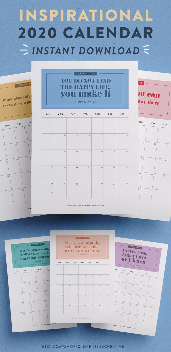 Printable 2020 Calendar Inspirational Quotes | Inspirational