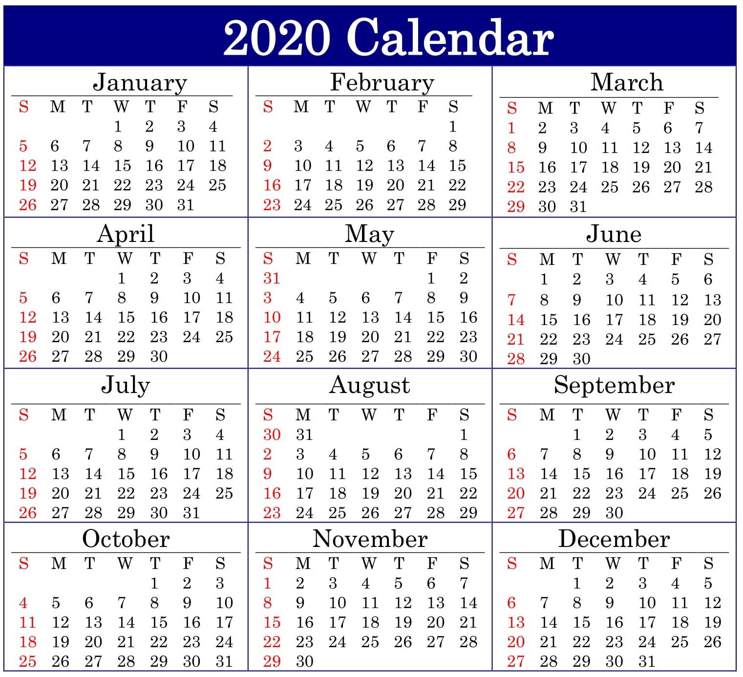 Printable 2020 Calendar Online Download – Free Latest