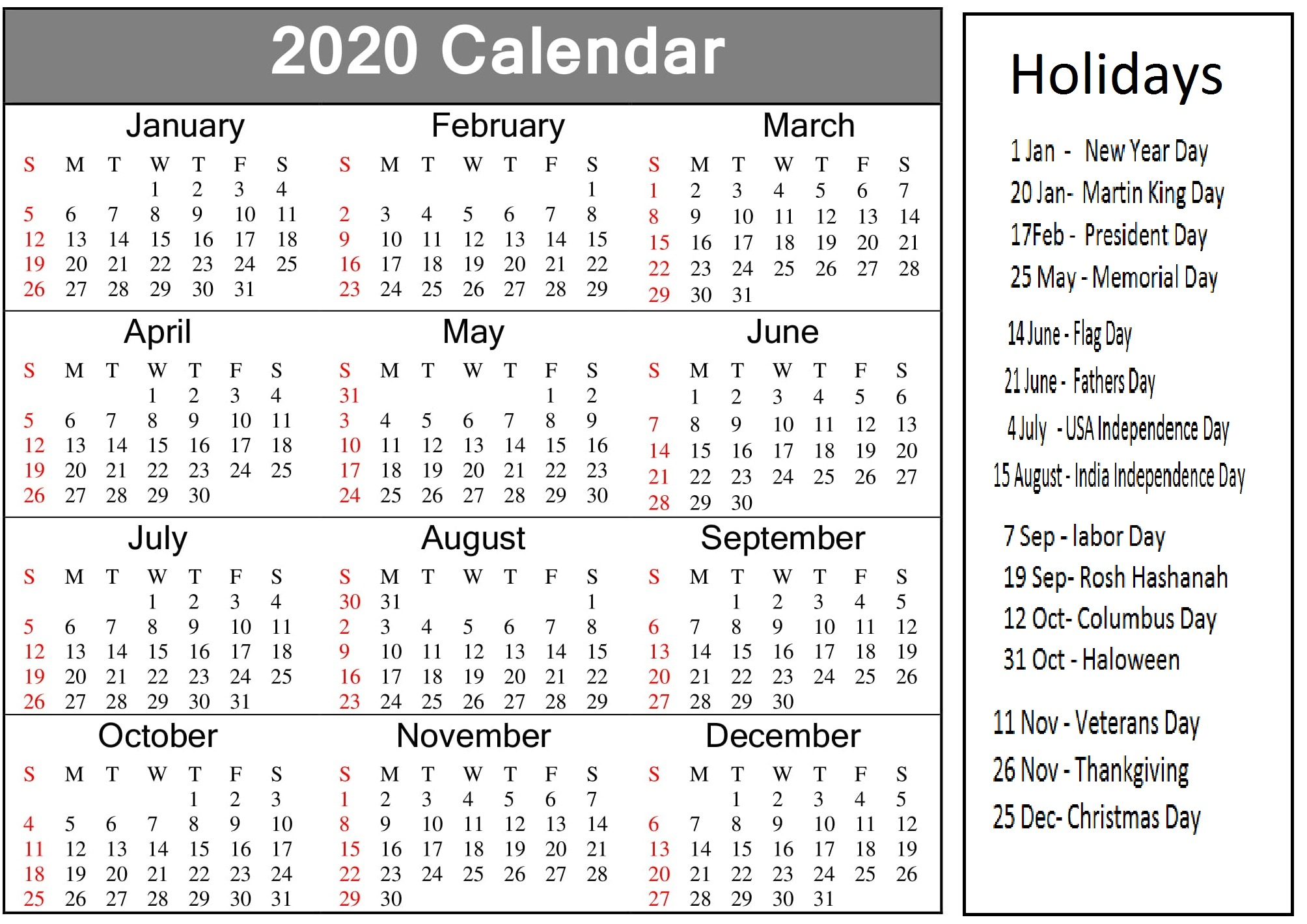 Printable 2020 Calendar With American Holidays - Latest