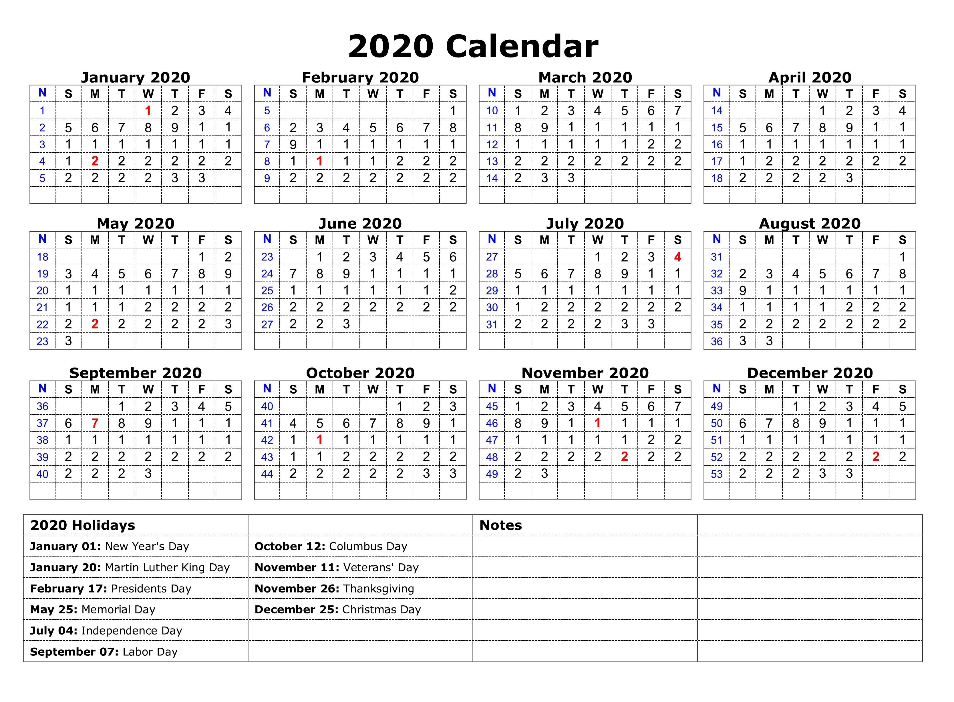 Printable 2020 One Page Holidays Calendar | Free Printable
