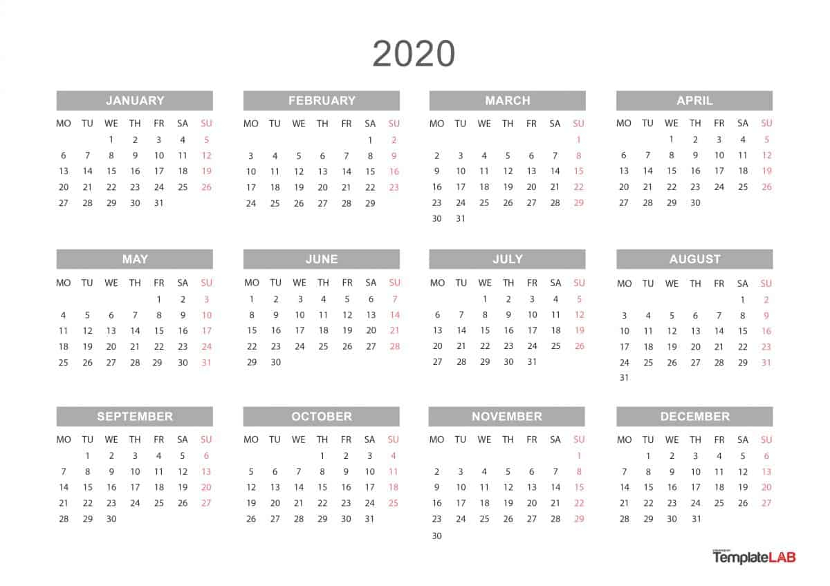 Printable 2020 Year Calendar - Tunu.redmini.co
