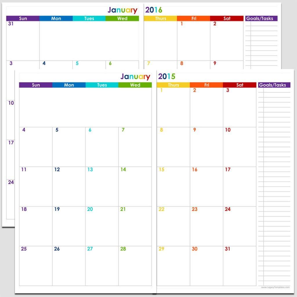 Printable 24-Month 2 Page Calendar – 2015 & 2016 – 5 1/2″ X