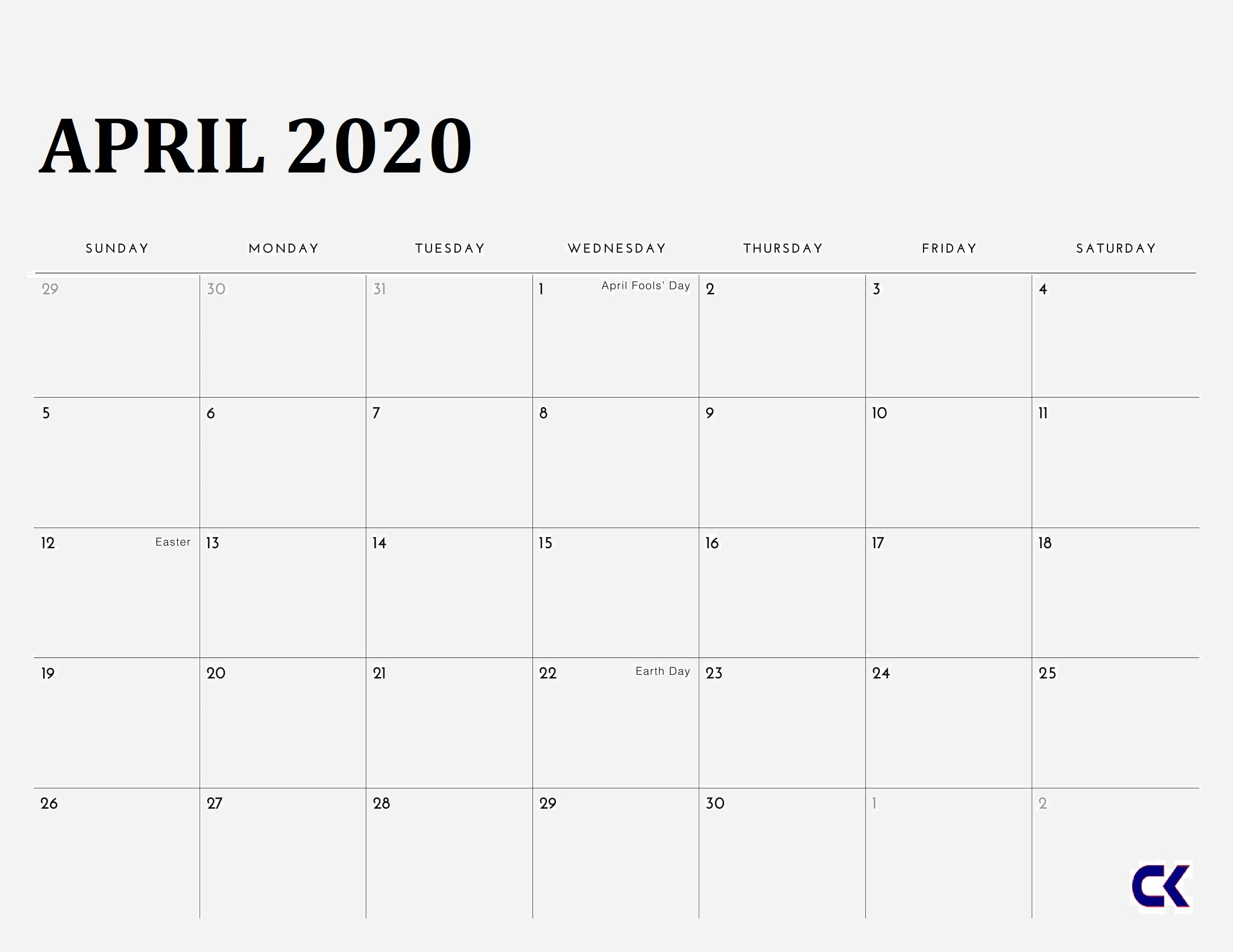 Printable April 2020 Calendar - Calendar-Kart