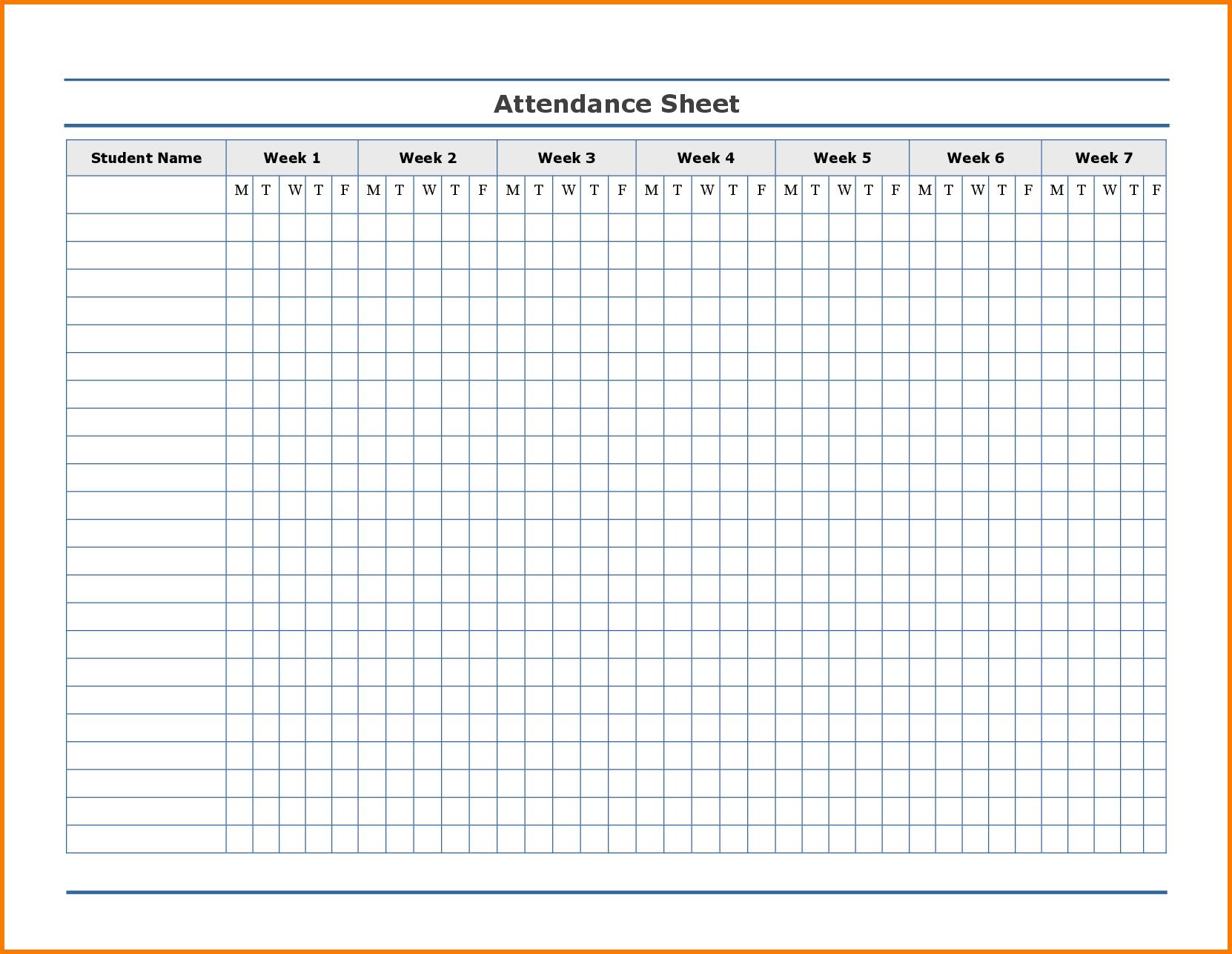 Printable Attendance Tracker | Attendance Sheet Template