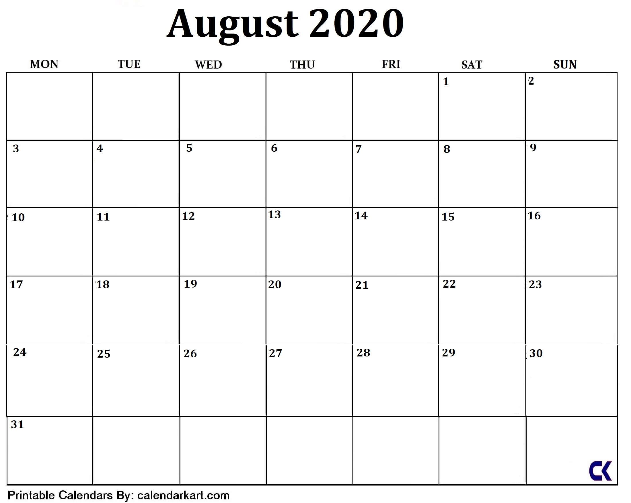 Printable August 2020 Calendar - Calendar-Kart