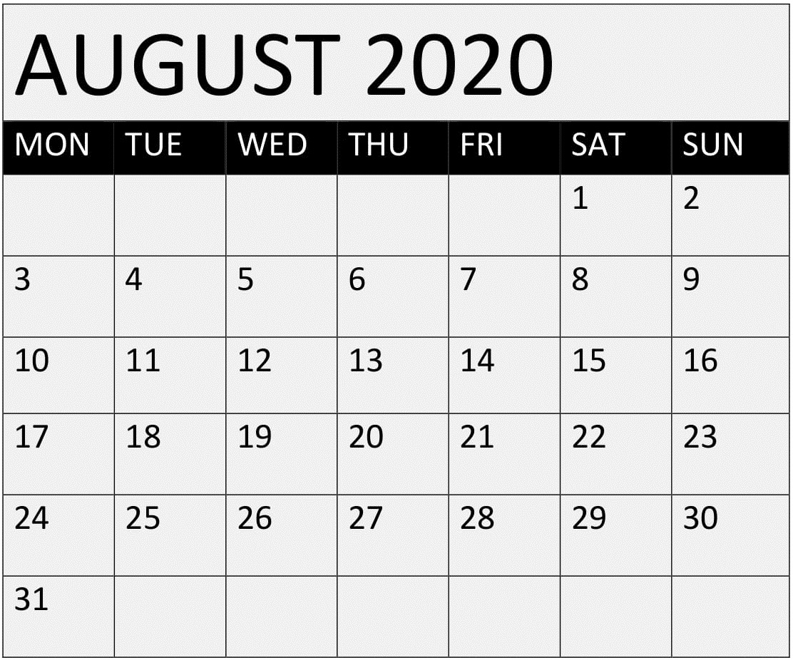 Printable August 2020 Calendar One Page – Free Latest