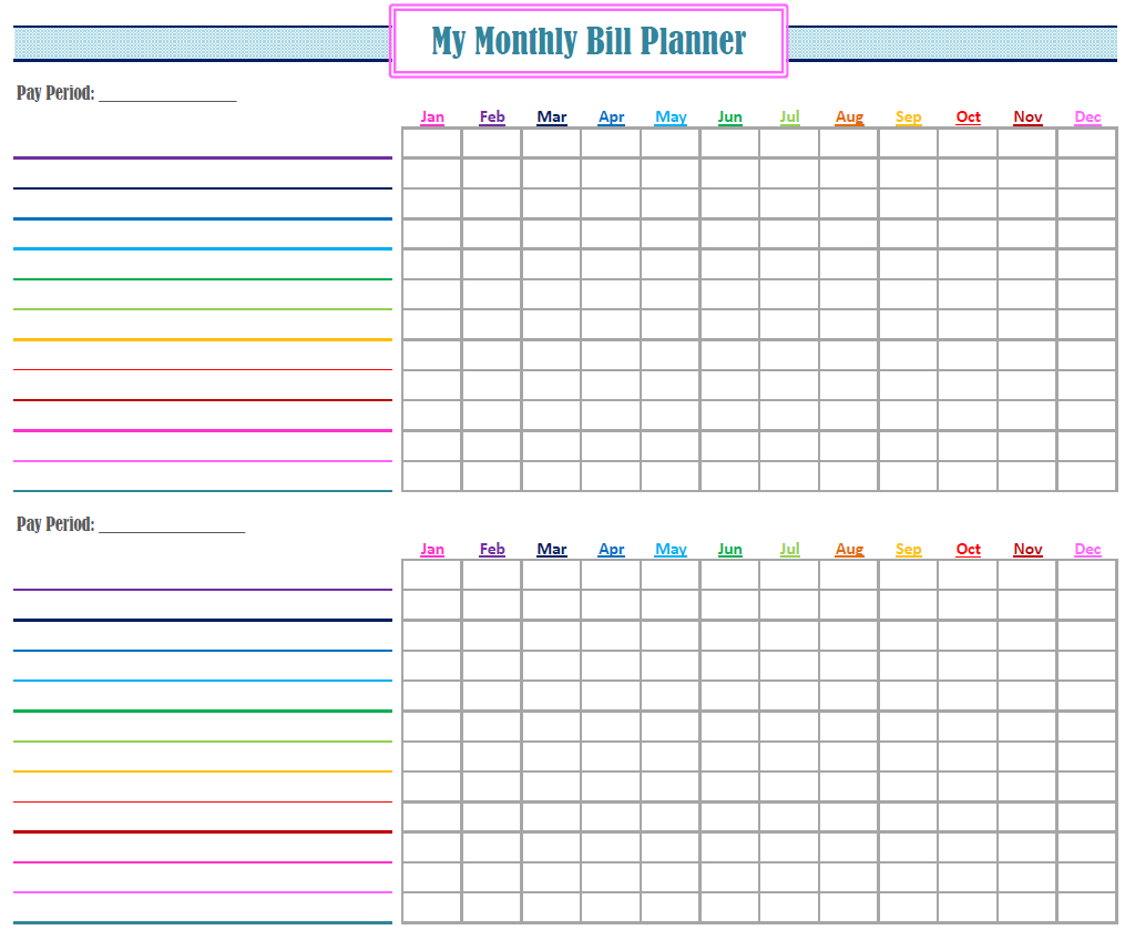 Printable Bill Calendar - Free Download | Bill Planner, Bill