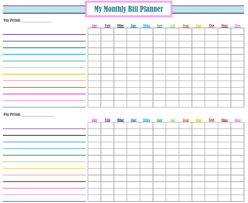 Printable Bill Calendar - Free Download   Bill Planner, Bill