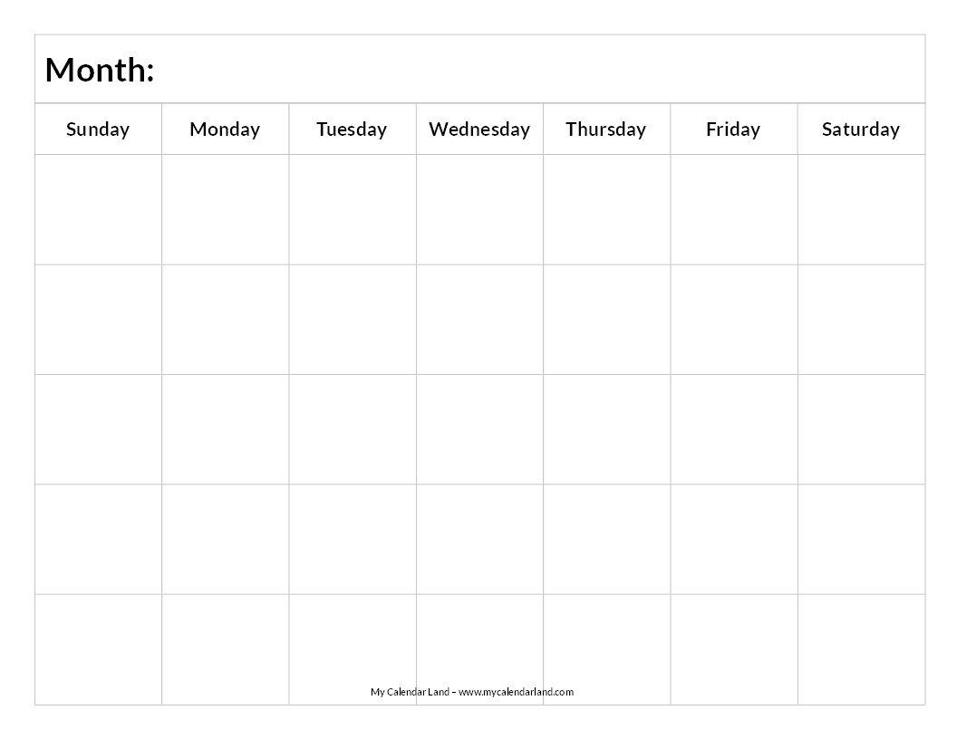 Printable Blank Calendar   Blank Calendar, Printable Blank