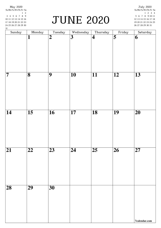 Printable Blank Calendar June 2020 | Пустой Календарь