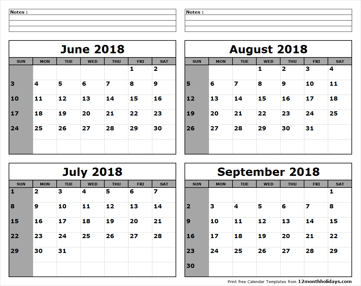 Printable Blank Four Month June July August September 2018