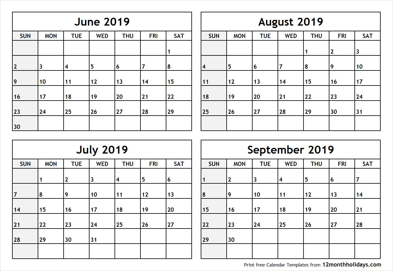 Printable Blank Four Month June July August September 2019