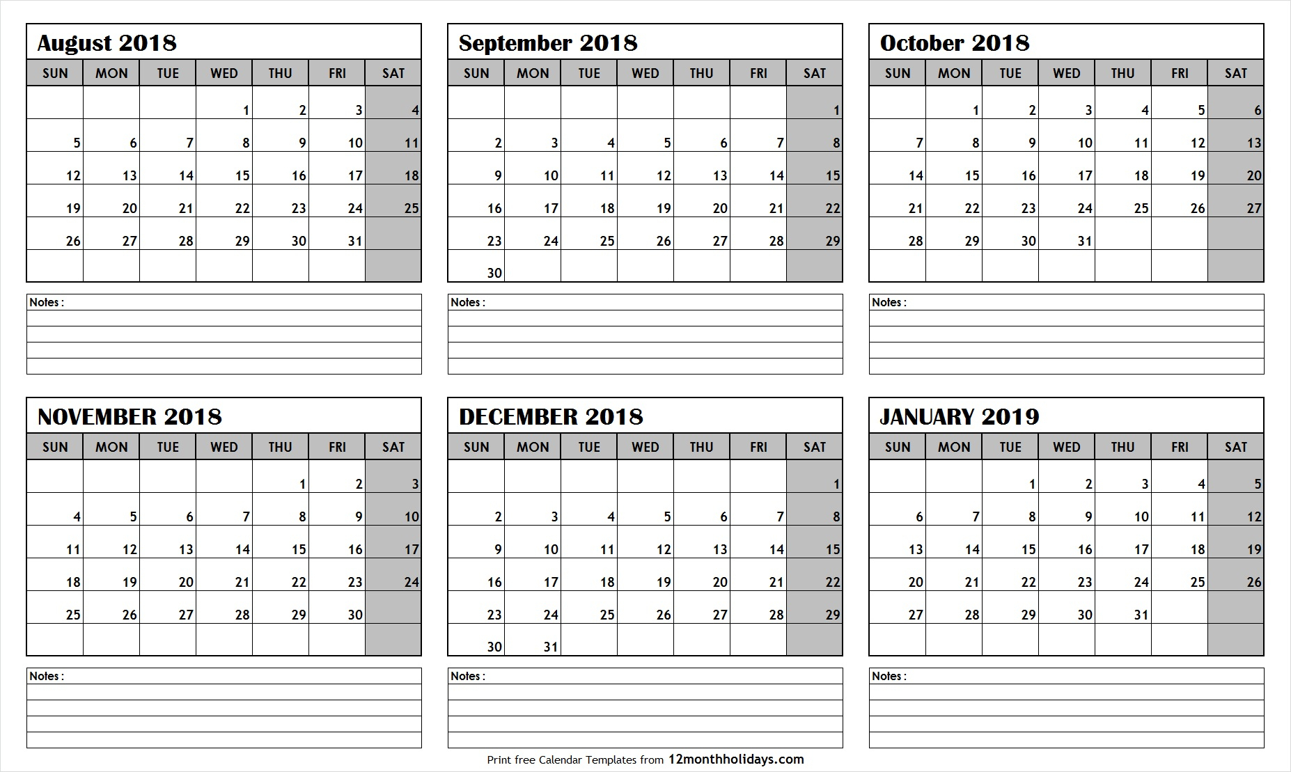 Printable Blank Six Month 6 Month Calendar August January