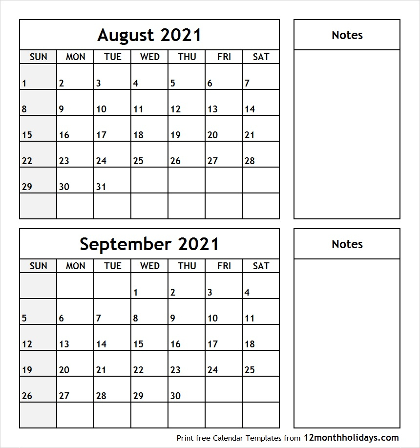Printable Blank Two Month Calendar August September 2021