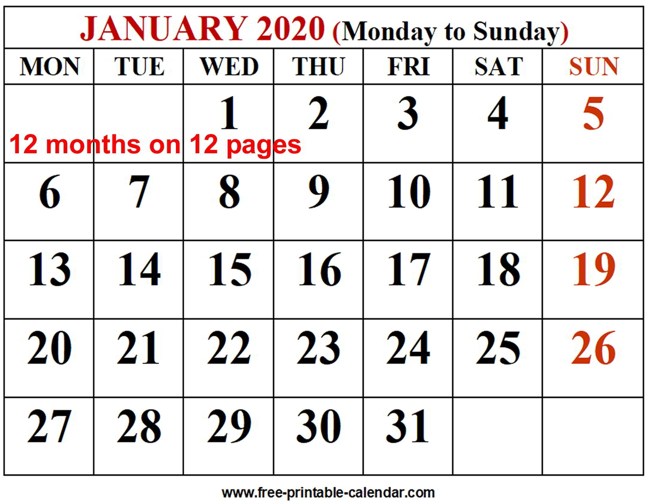 Printable Calendar 2020 Monthly Monday To Friday | Monthly