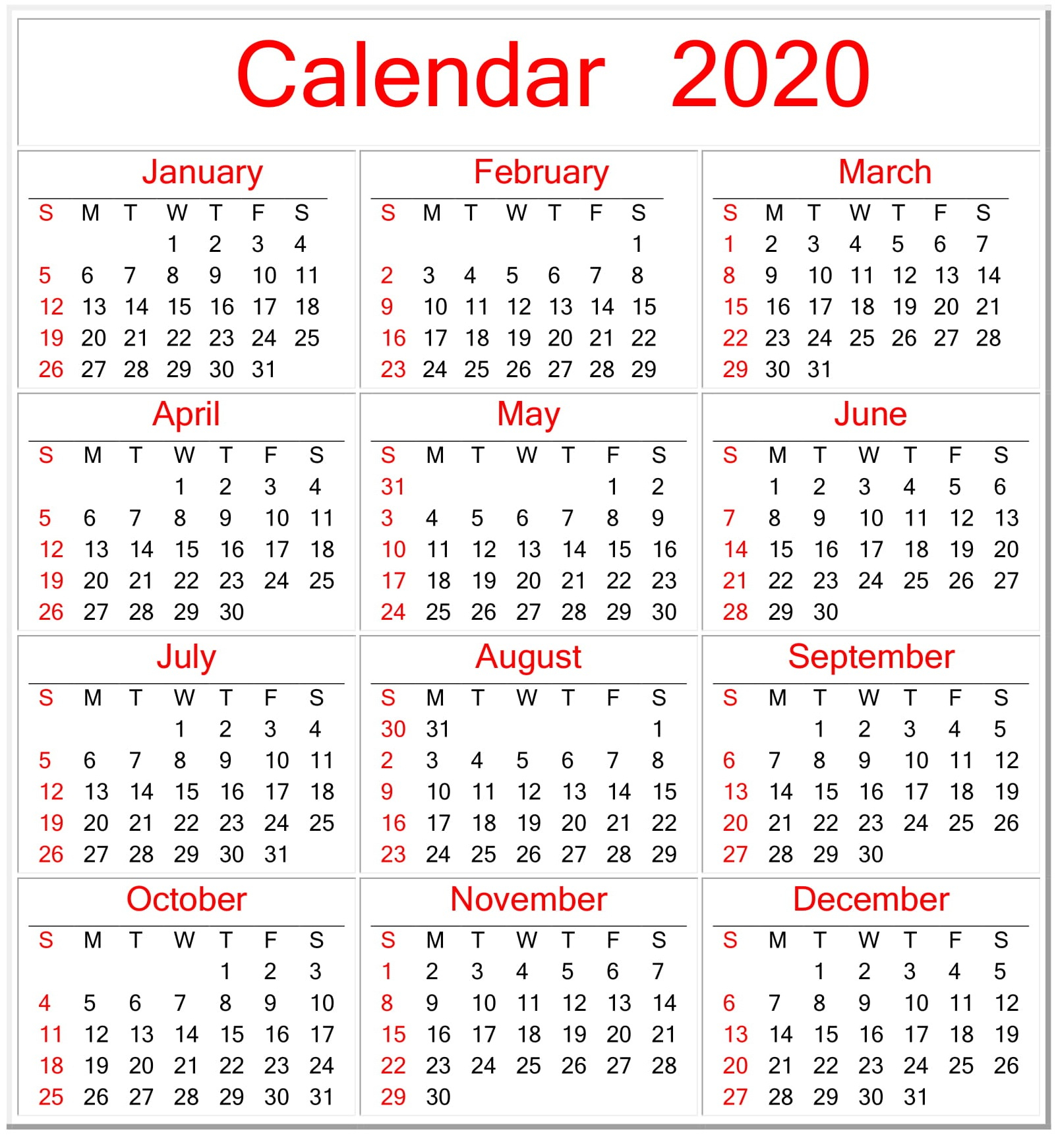 Printable Employee Vacation Calendar 2020
