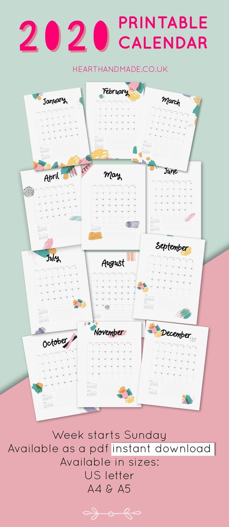 Printable Calendar 2020 | Wall Calendar 2020 | Desk Calendar