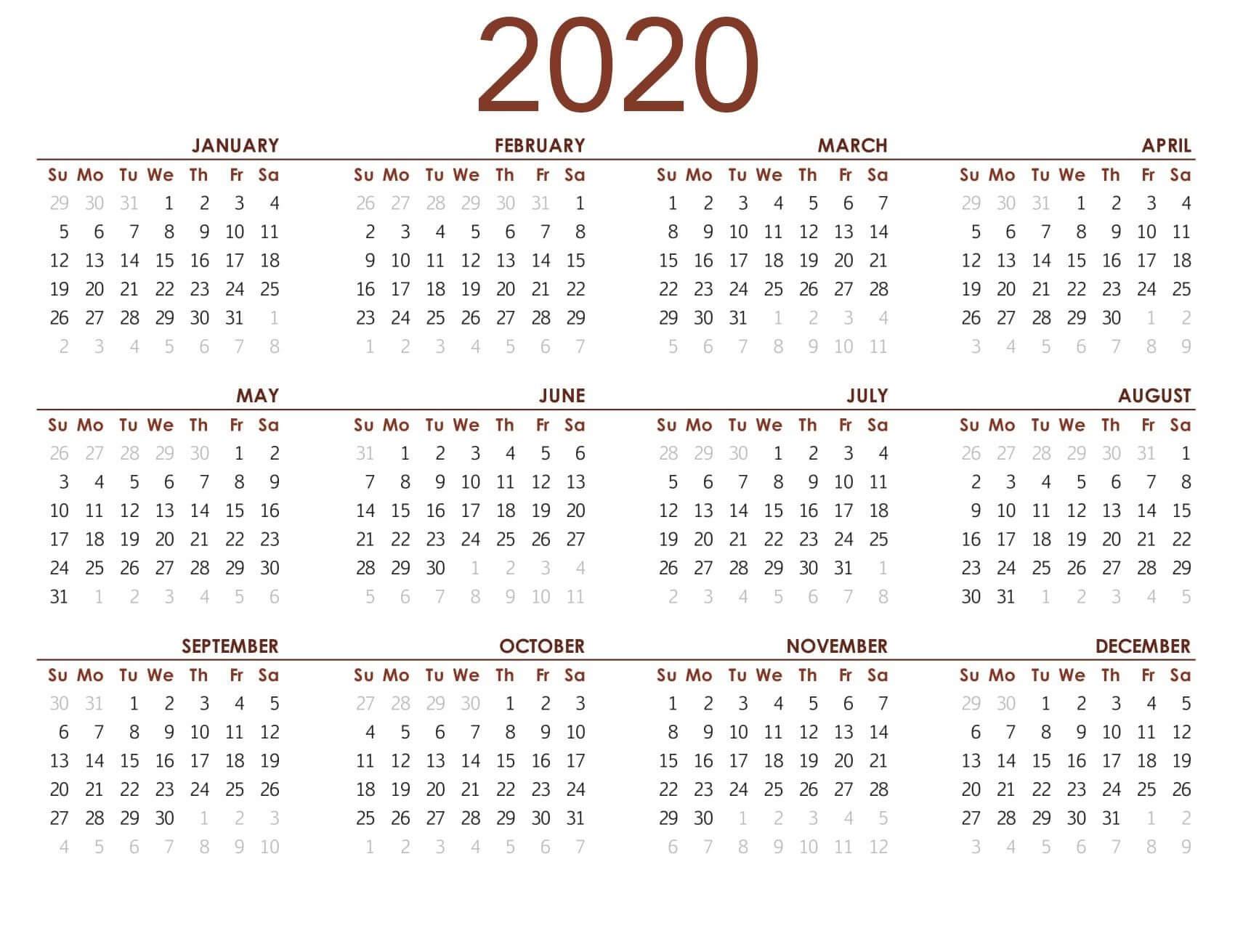 Printable Calendar 2020 With Notes - 2019 Calendars For
