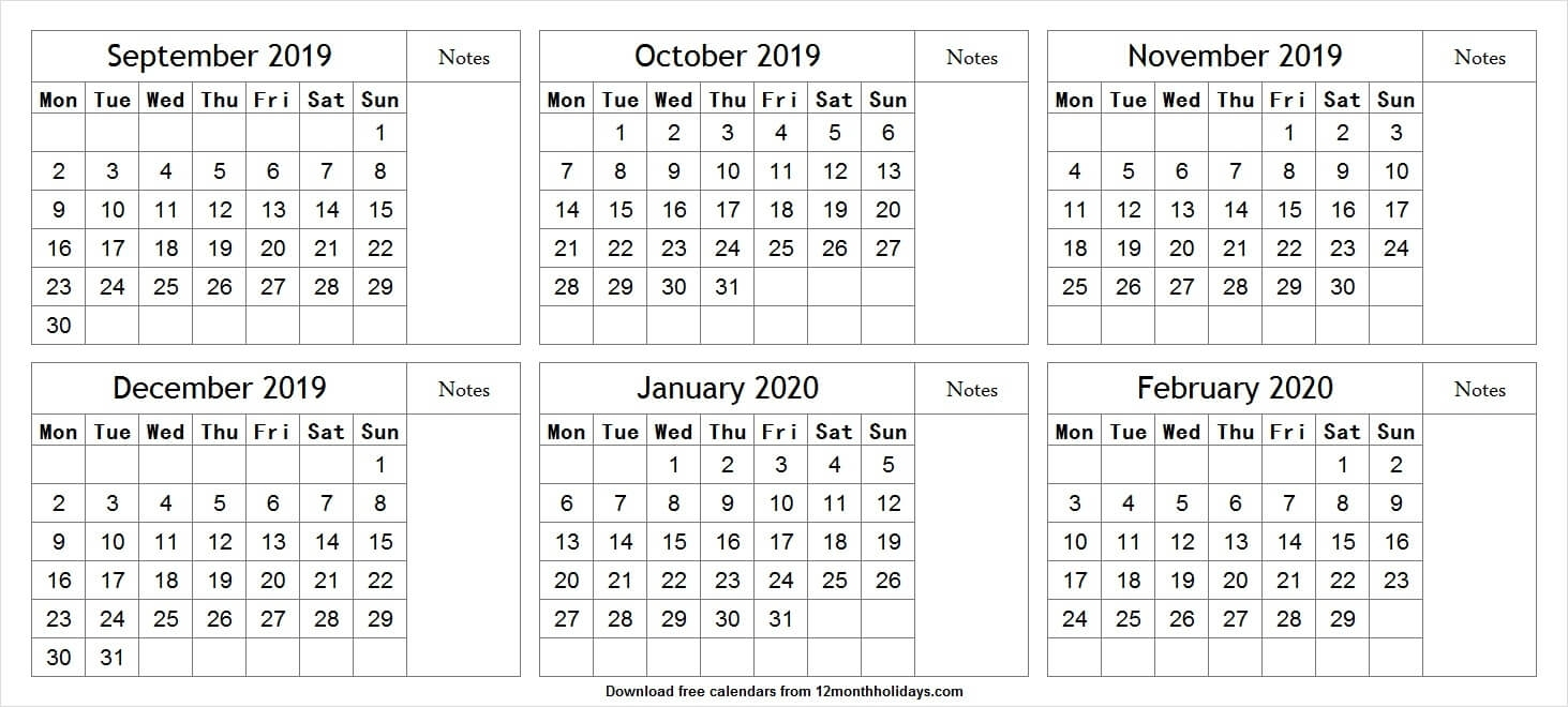 Printable Calendar 6 Month 2020 | Monthly Printable Calender