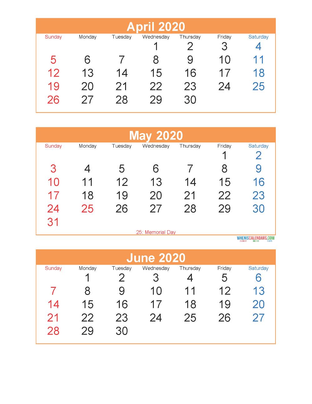 Printable Calendar April May June 2020 3 Months Per Page