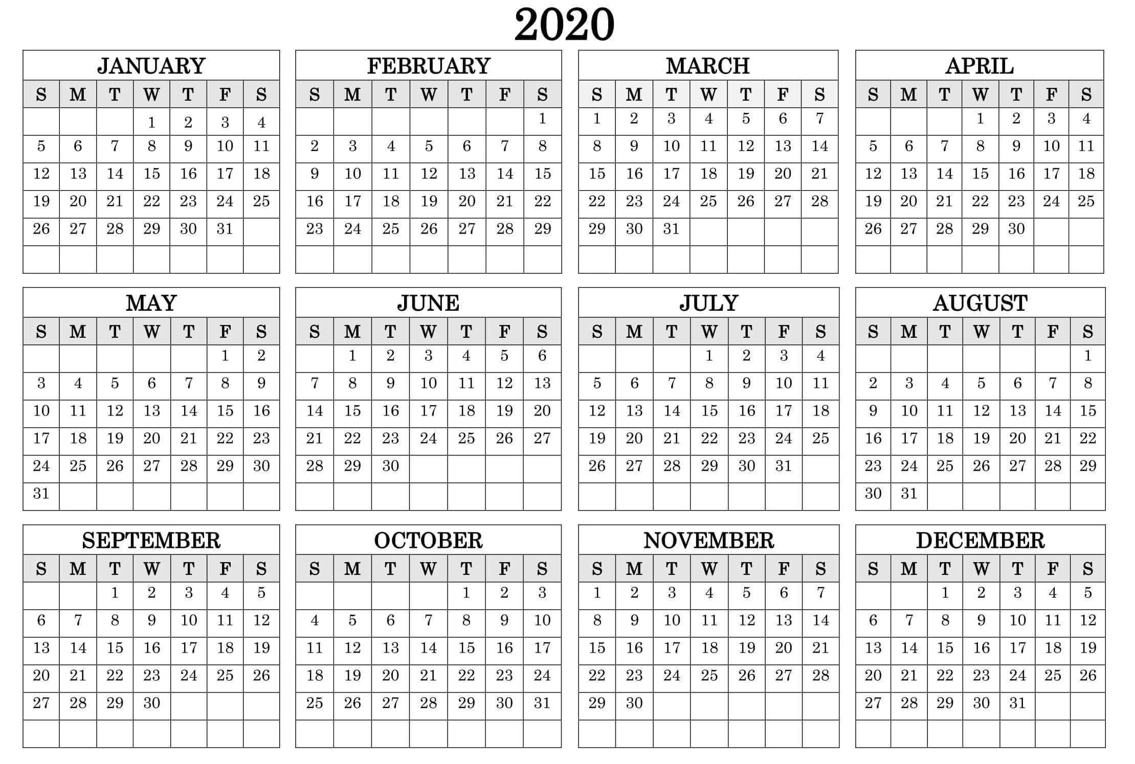 Printable Calendar Year 2020 Holidays Fillable Pdf - Set