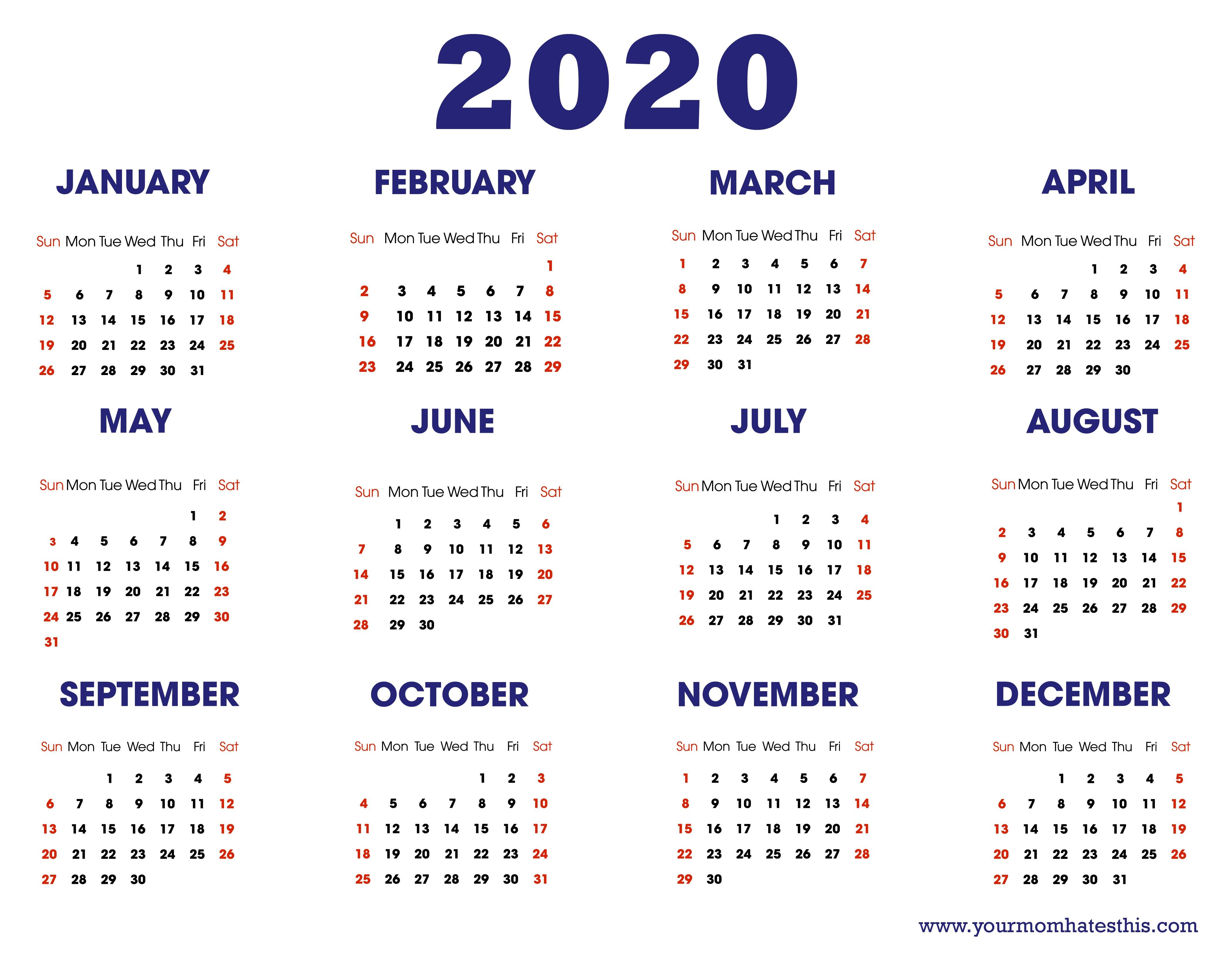 Printable Calendars 2020 | Free Printable Calendar Monthly