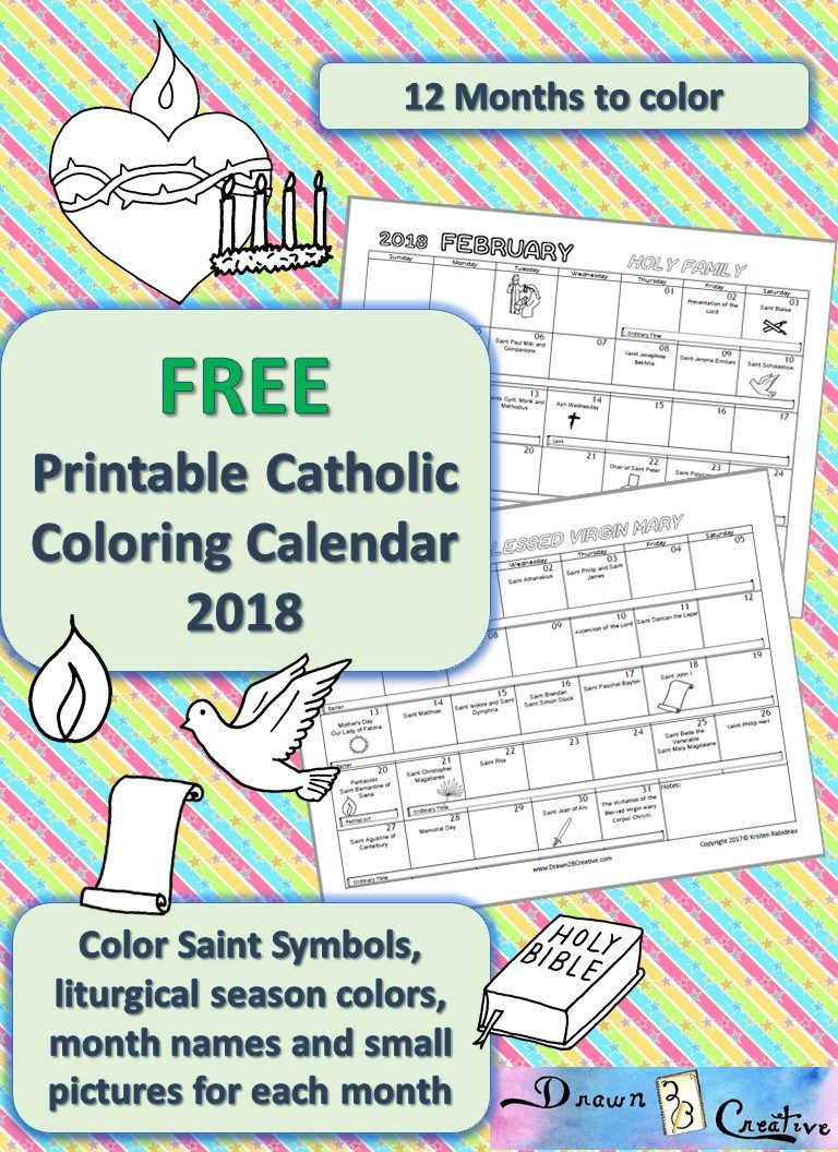Printable Catholic Calendar To Color | Catholic Printables