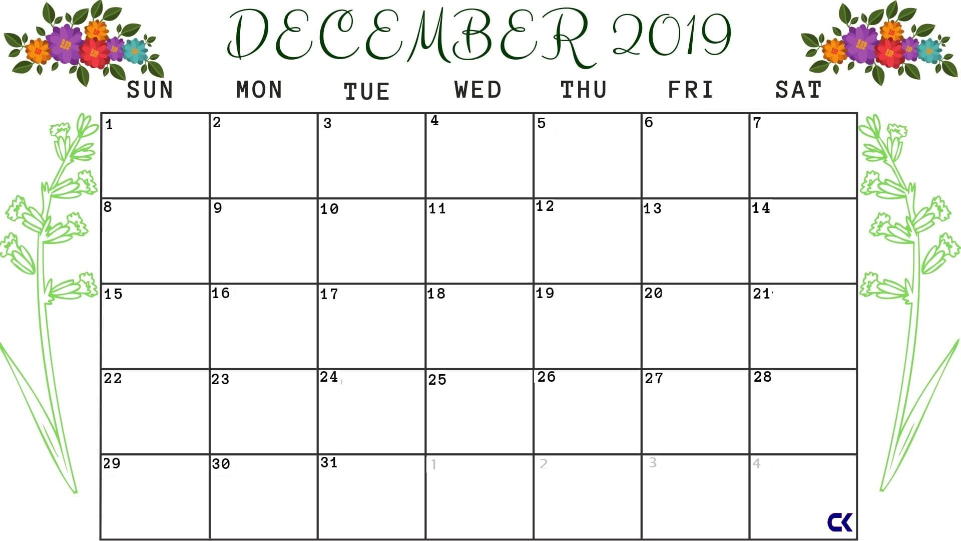 Printable December 2019 Calendar: Downloadable - Calendar-Kart