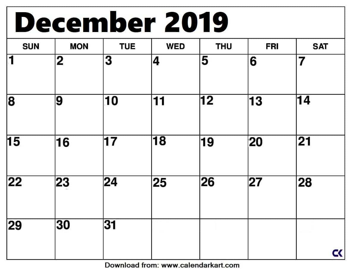 Printable December 2019 Calendar: Downloadable - Calendar-Kart