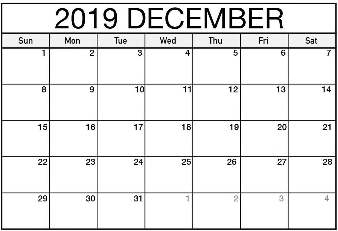 Printable December 2019 Calendar Word - 2019 Calendars For