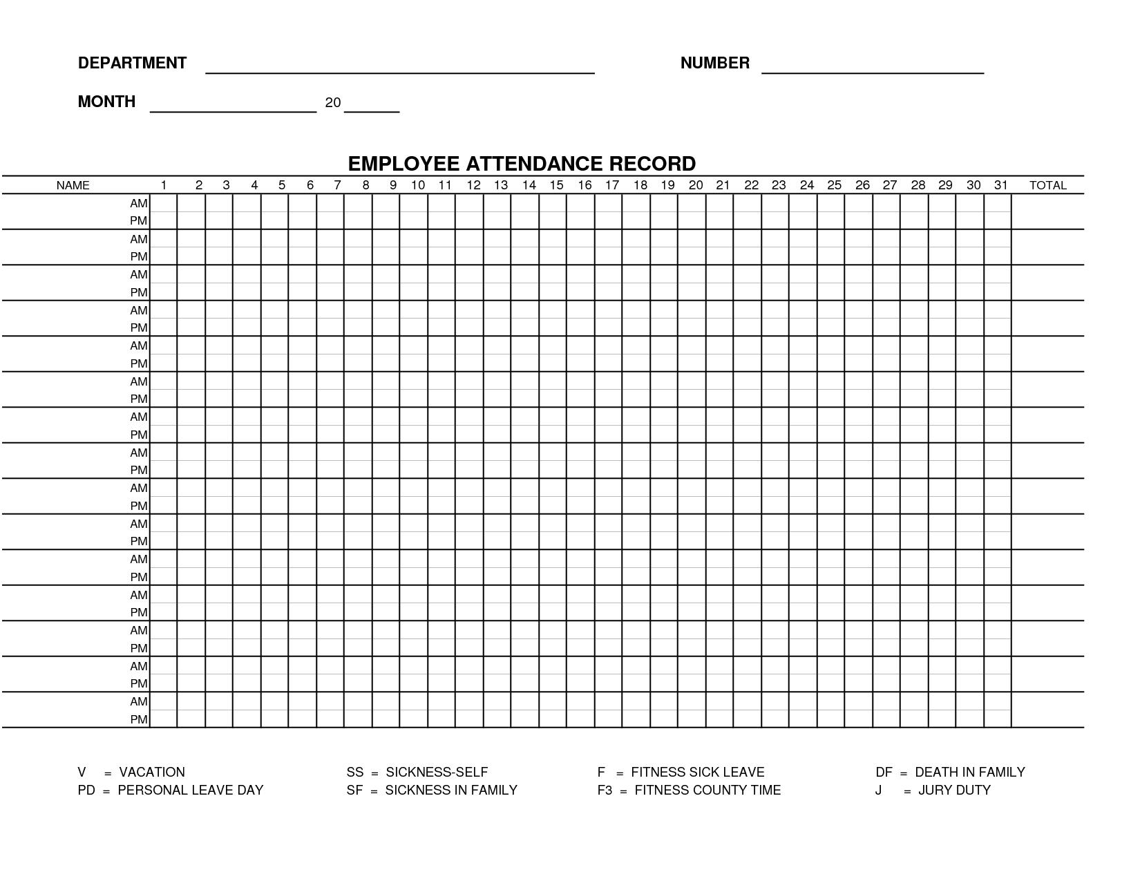 Printable Employee Attendance Sheet Template   Form 15